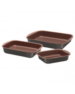 3 Piece Vermont  Aluminum Non Stick Roasting Pan Tray Set