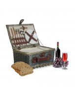 Deluxe Wicker Picnic Basket for 2 People
