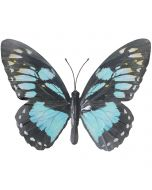 Cyan & Black Large Metal Hanging Butterfly Ornament