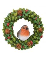 Hanging Robin Floral Wreath Christmas Decoration