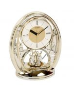 Rhythm Indoor Gold Oval Mantel Anniversary Clock with Roman Numerals