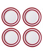 Red and White Stripe Set of 4 Dinner Plates 28cm
