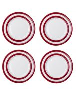 Red and White Stripe Set of 4 Side Plates 18cm