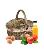 Oval Willow Shopping Basket with Rose Fabric Lining