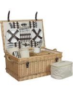 """Traditional Willow 24"""" Fitted 6 Person Family Picnic Basket with Chiller Compartment"""
