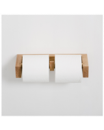 Wooden Double Toilet Roll Holder in Natural Oak Water Resistant Designed by Lincoln Rivers