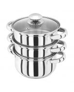 Basics Stainless Steel 3pc Steamer 24cm with Glass lid