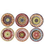 Small 13cm Set of 6 Salad Serving Plates Mixed Patterns from the Rose & Tulipani Nador Range