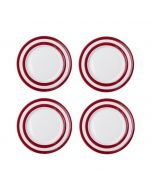 Red and White Stripe Set of 4 Breakfast Plates 23cm
