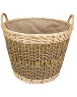 Unpeeled Willow Log Basket with Hessian Lining