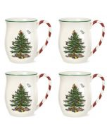 Spode Christmas Tree Mugs with Candy Cane Handles, Set of 4