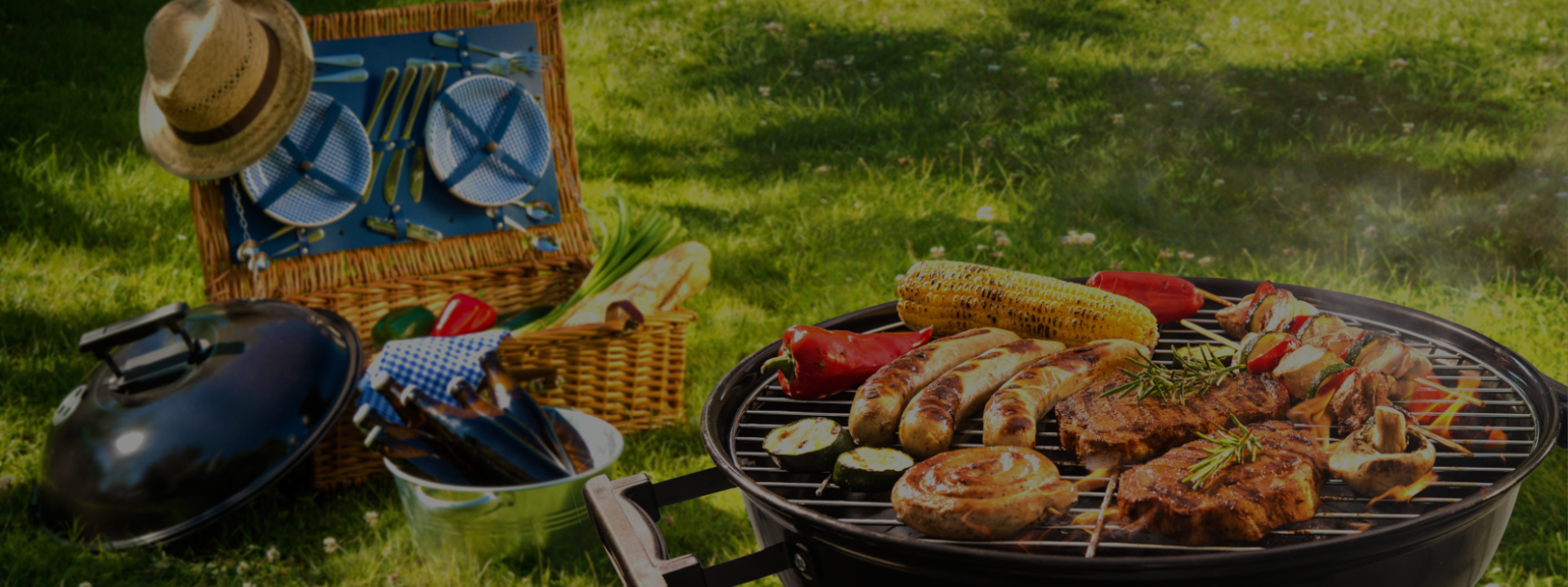 outdoor entertaining with picnic basket and bbq
